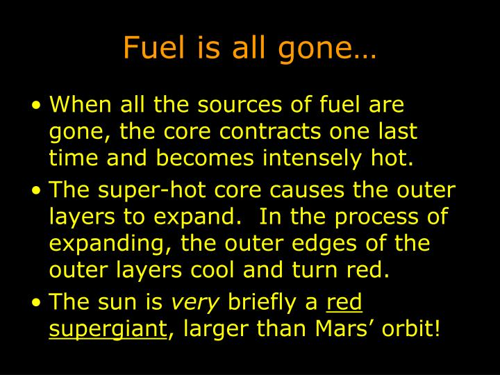 Fuel is all gone…
