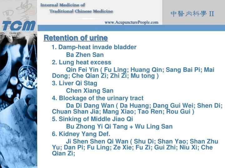 Retention of urine