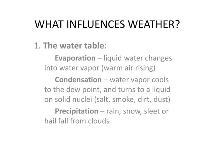 what influences weather n.