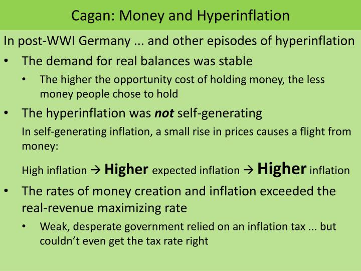 Cagan money and hyperinflation