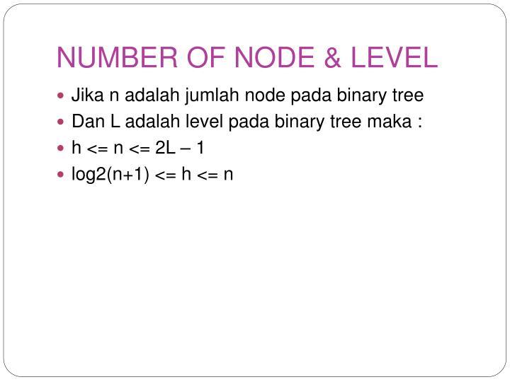 NUMBER OF NODE & LEVEL
