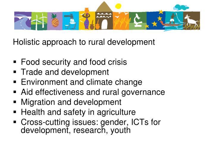 Holistic approach to rural development