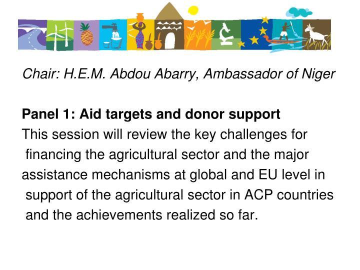 Chair: H.E.M. Abdou Abarry, Ambassador of Niger