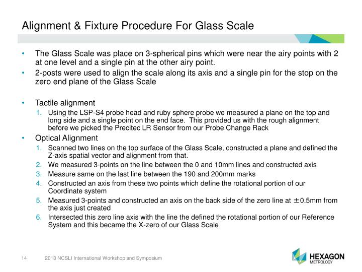 Alignment & Fixture Procedure For Glass Scale