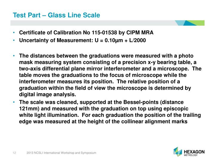 Test Part – Glass Line Scale