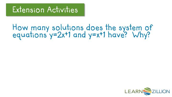 How many solutions does the system of equations y=2x+1 and y=x+1 have?  Why?