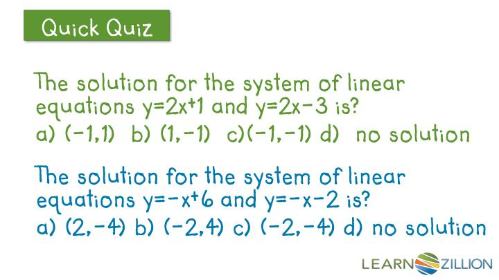 The solution for the system of linear equations y=2x+1 and y=2x-3 is?