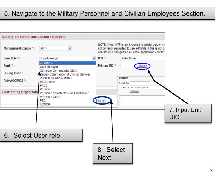 5. Navigate to the Military Personnel and Civilian Employees Section.