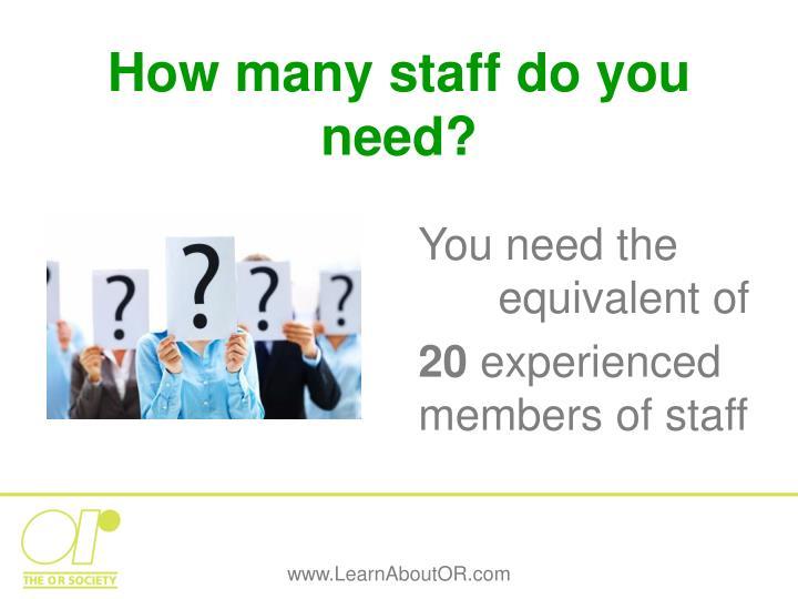 How many staff do you need?