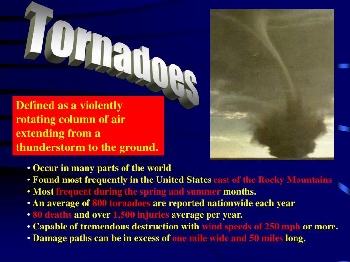 a definition of a tornado a violently rotating column A tornado is a type of intense rotary storm according to the glossary of meteorology, a tornado is- a violently rotating column of air, in contact with the ground, either pendant from a cumuliform cloud or underneath a cumuliform cloud, and often (but not always) visible as a funnel cloud.