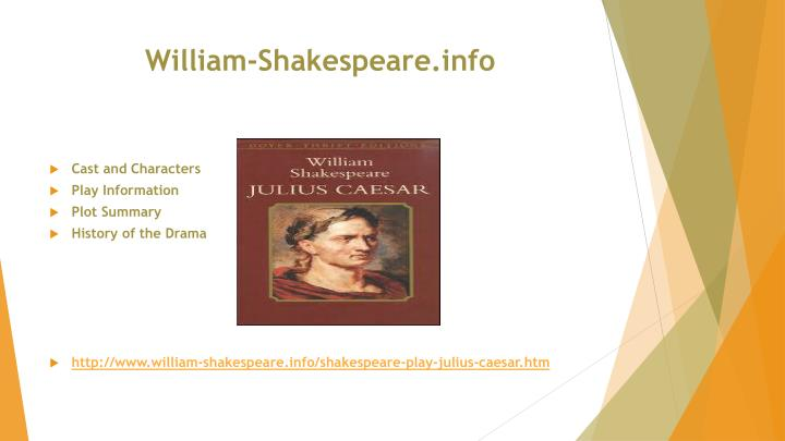 characterization of caesar in william shakespeares play julius caesar Plot summary of and introduction to william shakespeare's play julius caesar, with links to online texts, digital images, and other resources.