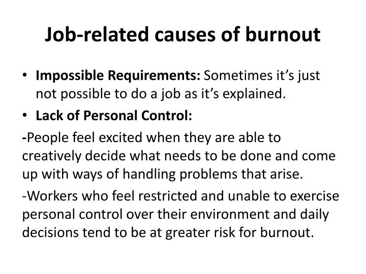 Job-related causes of burnout