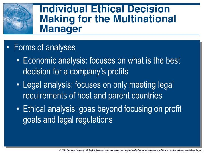 ethical decision making on various managerial Decision making in management this requires the capacity to weigh various and/or values of the individual making the decision this type of decision-making.