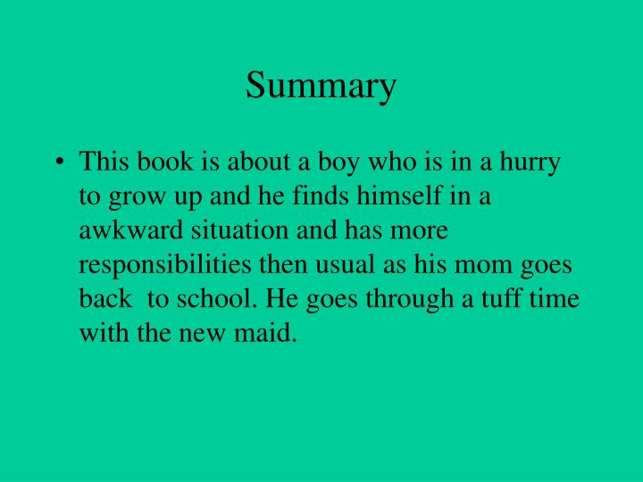 growing up book summary