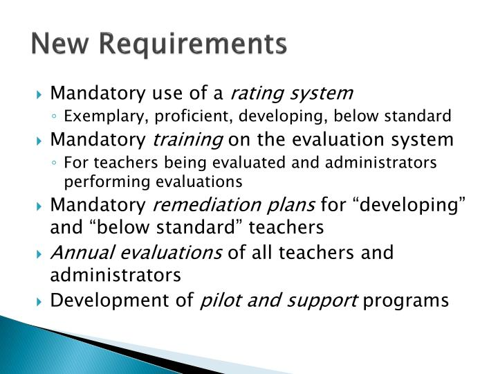 New requirements