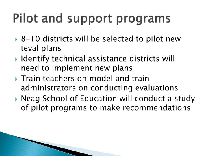 Pilot and support programs