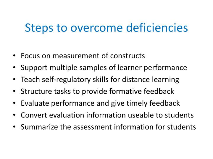 Steps to overcome deficiencies