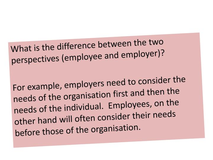 What is the difference between the two perspectives (employee and employer)?