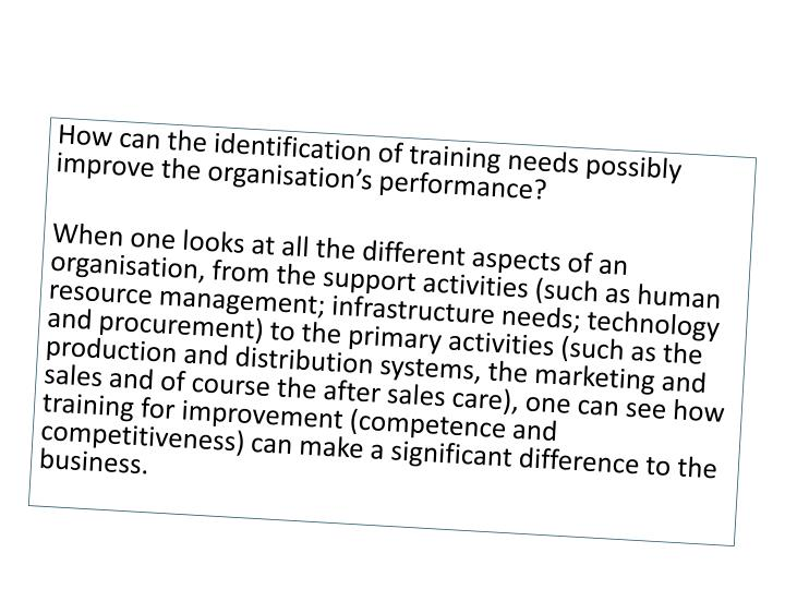 How can the identification of training needs possibly improve the organisation's performance?