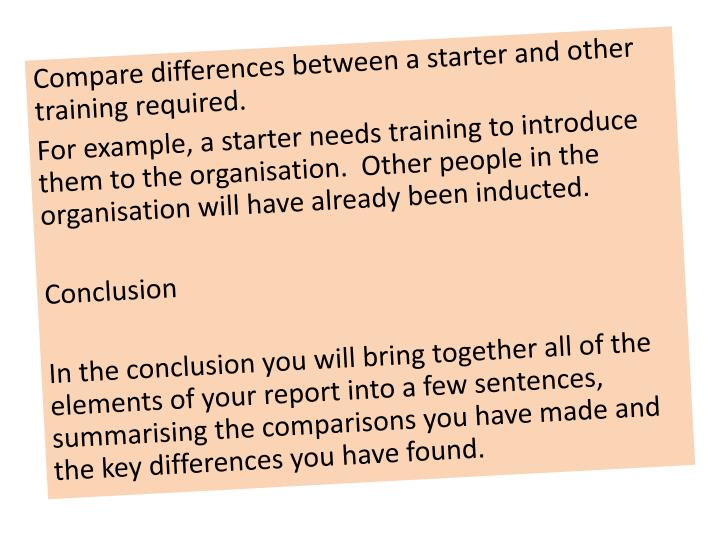 Compare differences between a starter and other training required.