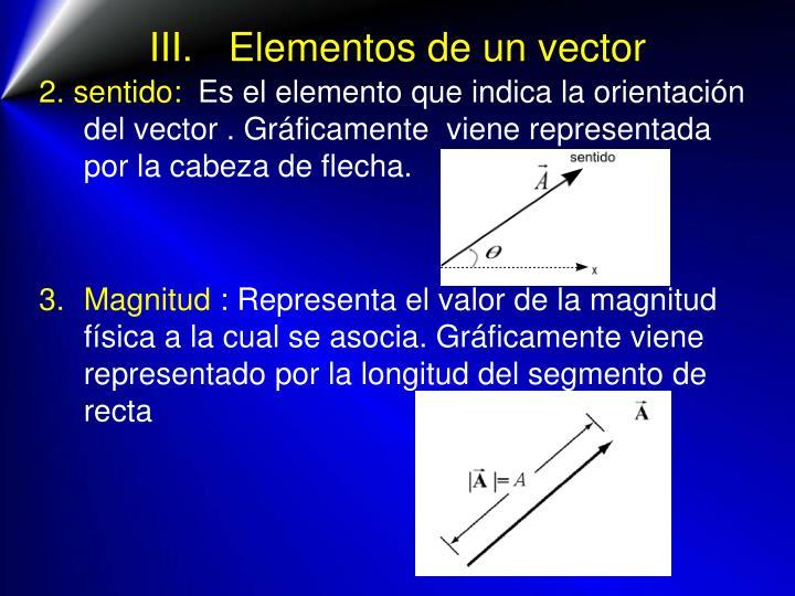 III.Elementos de un vector