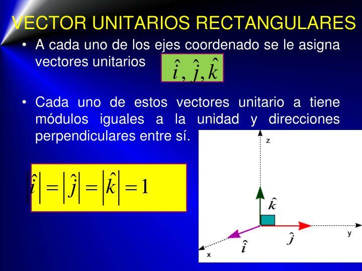 VECTOR UNITARIOS RECTANGULARES