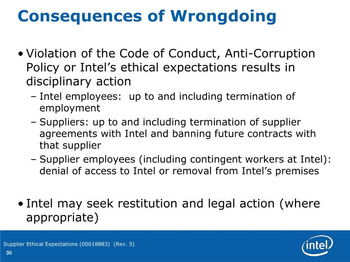 PPT - Intel's Ethical Expectations for Suppliers & their ...