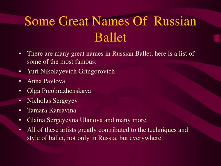 Some Great Names Of  Russian Ballet