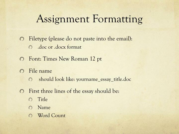 Assignment Formatting