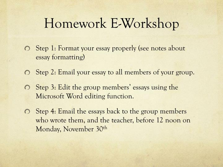Homework E-Workshop
