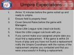 umpire expectations
