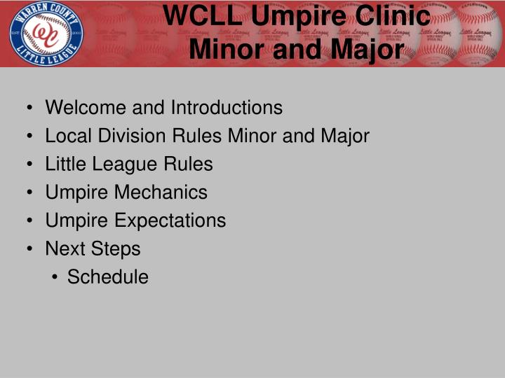wcll umpire clinic minor and major n.