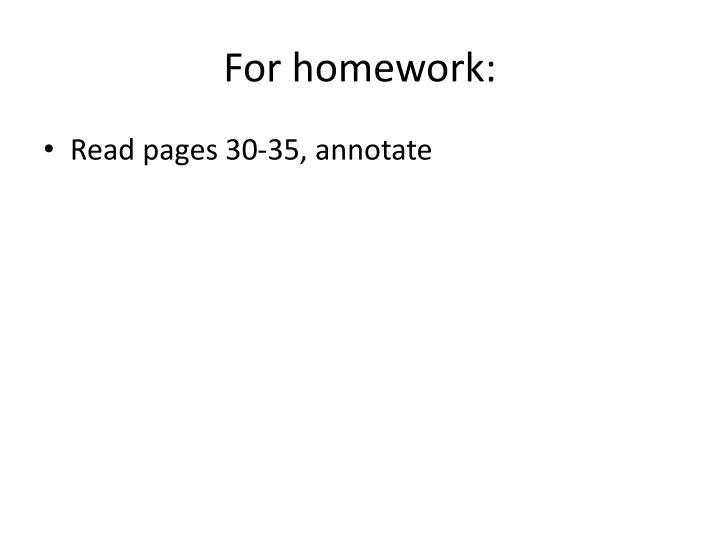 For homework: