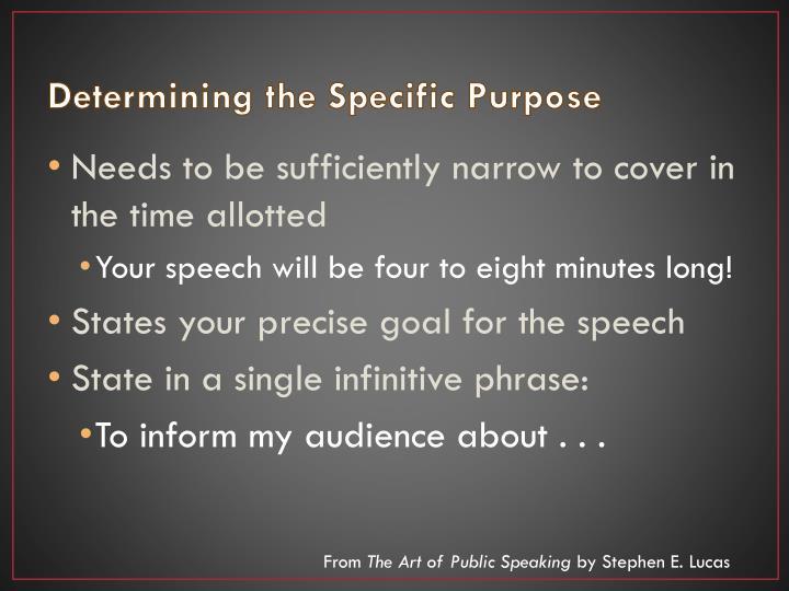 Determining the specific purpose1