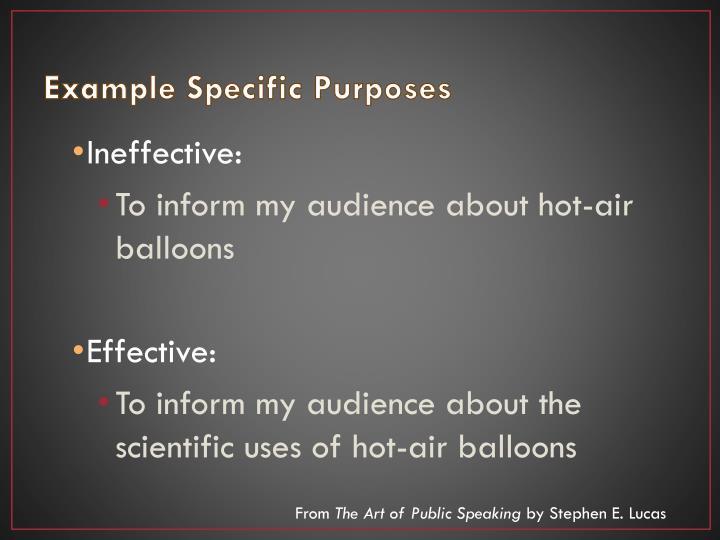 Example Specific Purposes