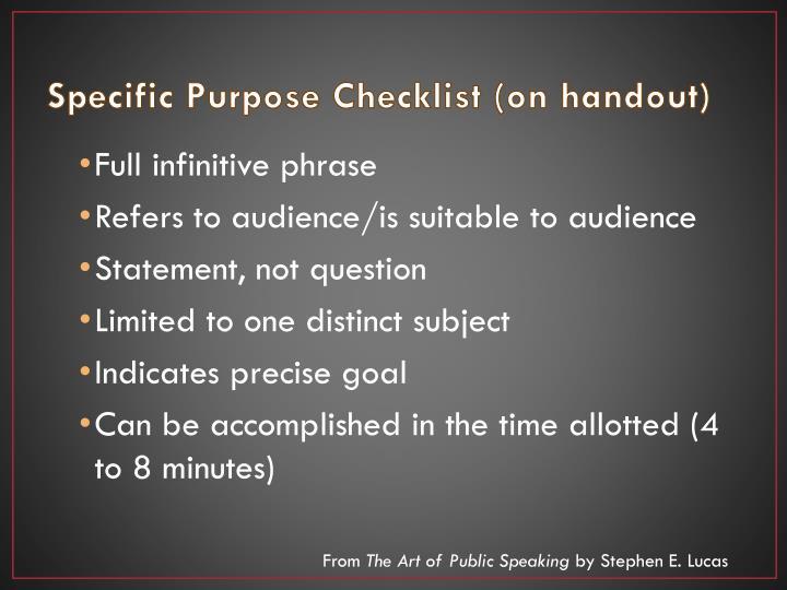 Specific Purpose Checklist (on handout)