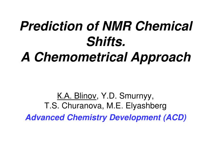 prediction of nmr chemical shifts a chemometrical approach n.