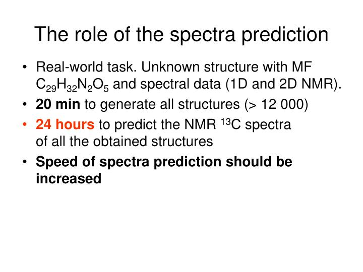 The role of the spectra prediction
