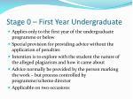 stage 0 first year undergraduate