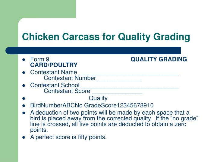Chicken Carcass for Quality Grading