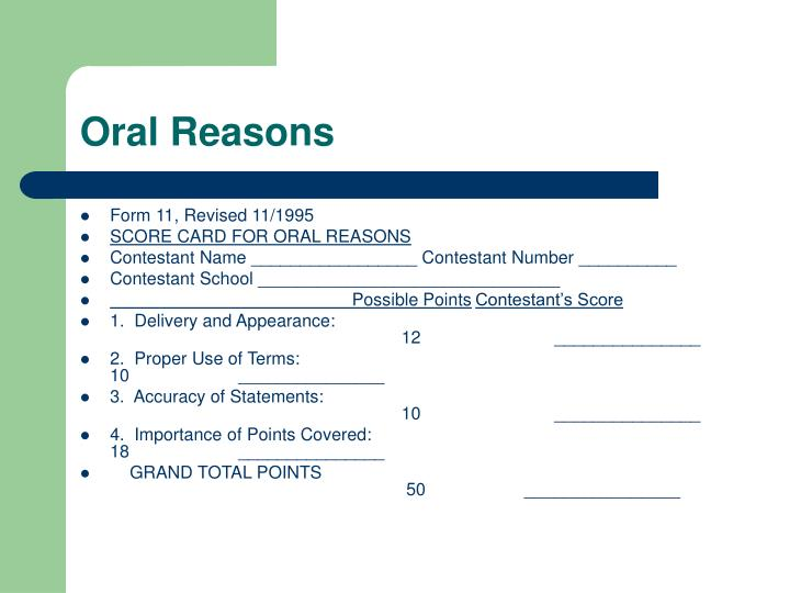 Oral Reasons
