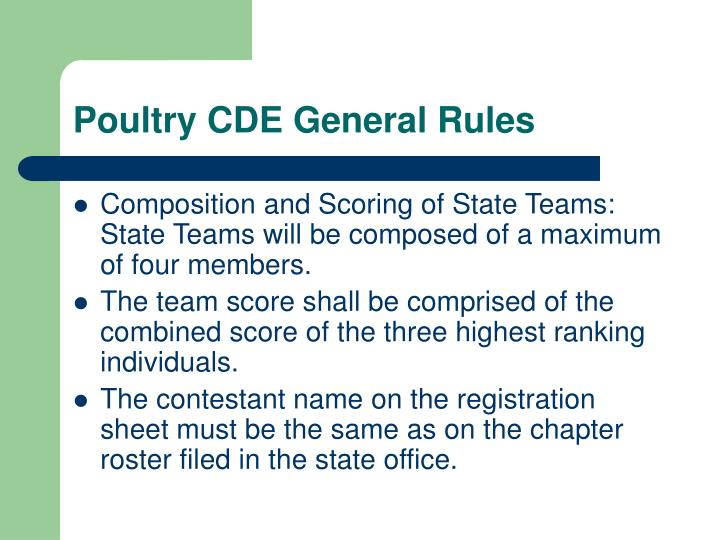 Poultry cde general rules