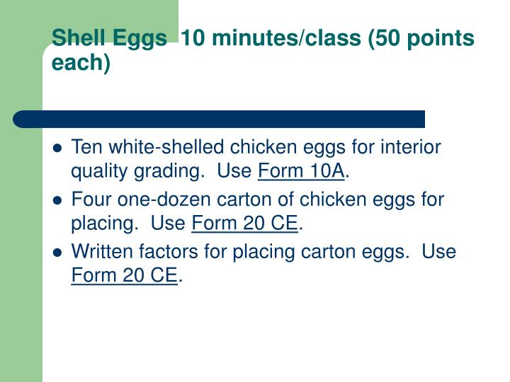 Shell Eggs  10 minutes/class (50 points each)