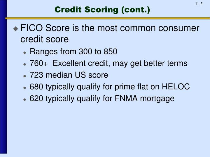 Credit Scoring (cont.)