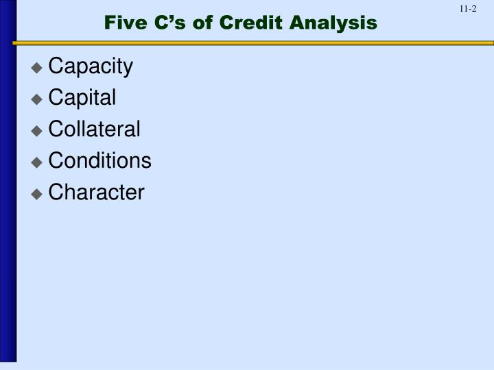 Five c s of credit analysis
