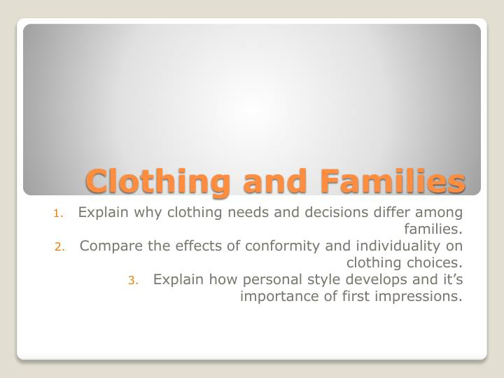 clothing and families n.