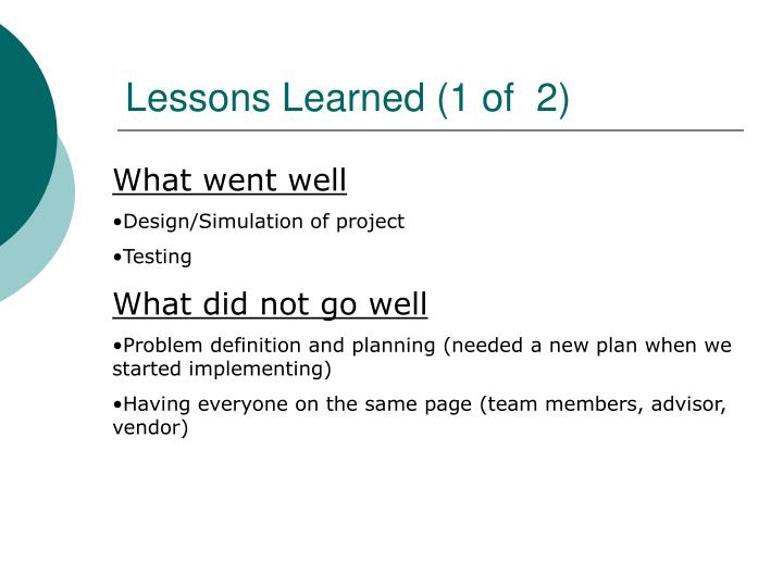 Lessons Learned (1 of  2)