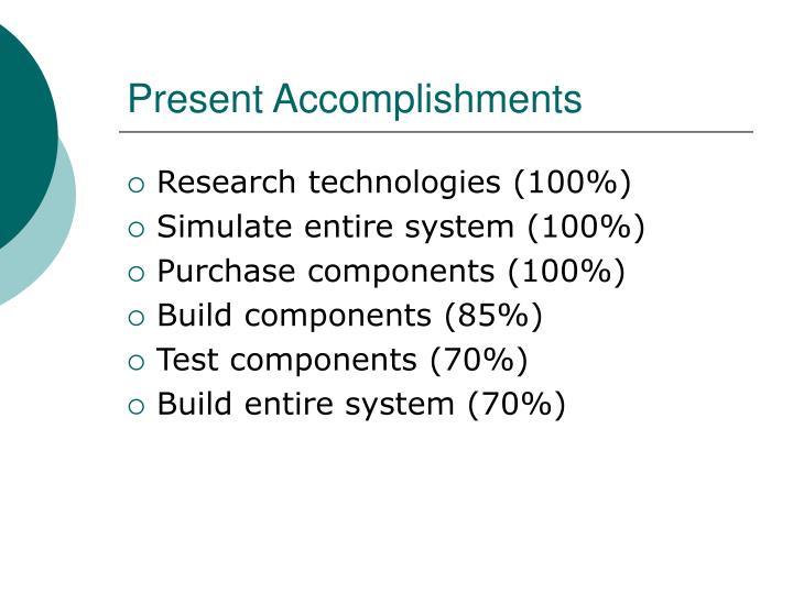 Present Accomplishments