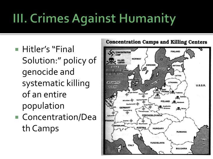 III. Crimes Against Humanity