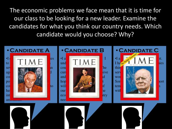 The economic problems we face mean that it is time for our class to be looking for a new leader. Examine the candidates for what you think our country needs. Which candidate would you choose? Why?
